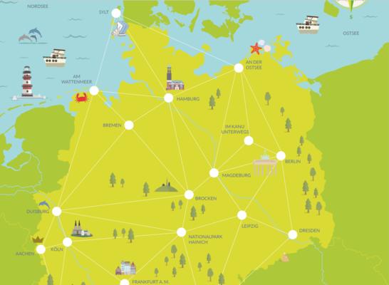 Postcard deutschland landkarte