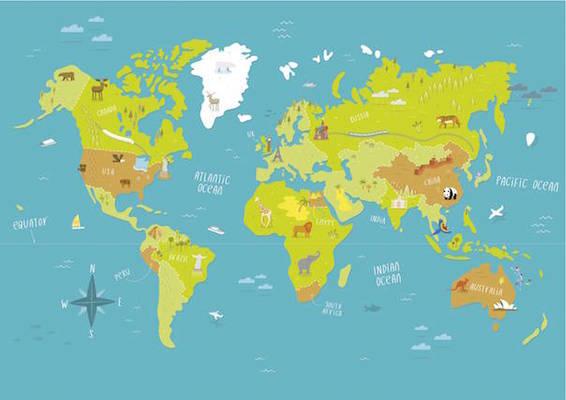 Postcard worldmap a3